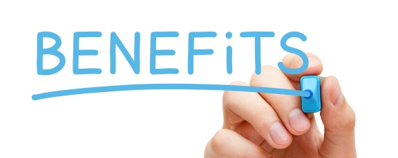 "Image of Hand Writing ""Benefits"" on White Board"